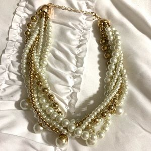 Pearl and gold cluster necklace